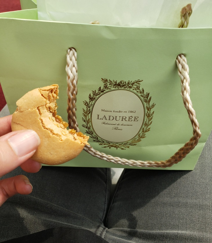 Signature pistachio green Lauree sac on my lap with a half eaten macaron in my hand