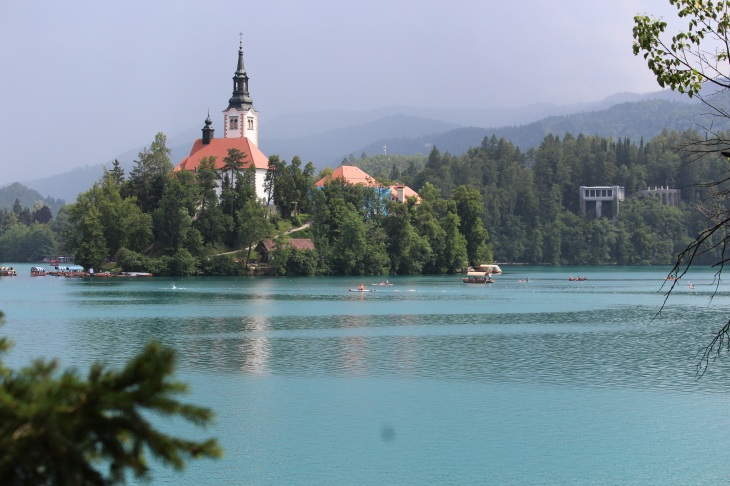 View of the lake with the island and church
