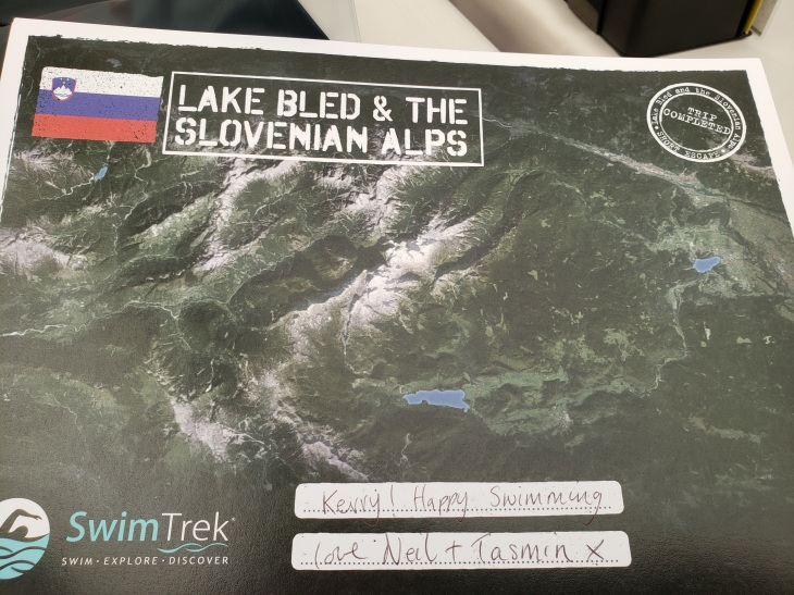 picture of my certificate- Google Earth style photo of Slovenia including visuals of the places we swam.