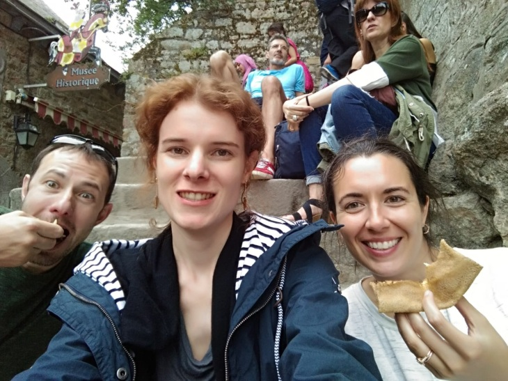 Patrick eating a crepe, Amandine, Kerry eating a crepe